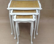Pretty nest of tables, painted in 'almond' complimenting the golden inlay