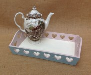 Pretty tray with heart shape detail, lovely for any tea party