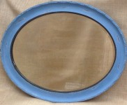 Shabby chic old, heavy mirror with bevelled edge painted in 'Crete'