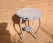 Lovely occasional table painted in 'flannel grey ' with the nice detailed edge and lower piece painted in 'code blue'