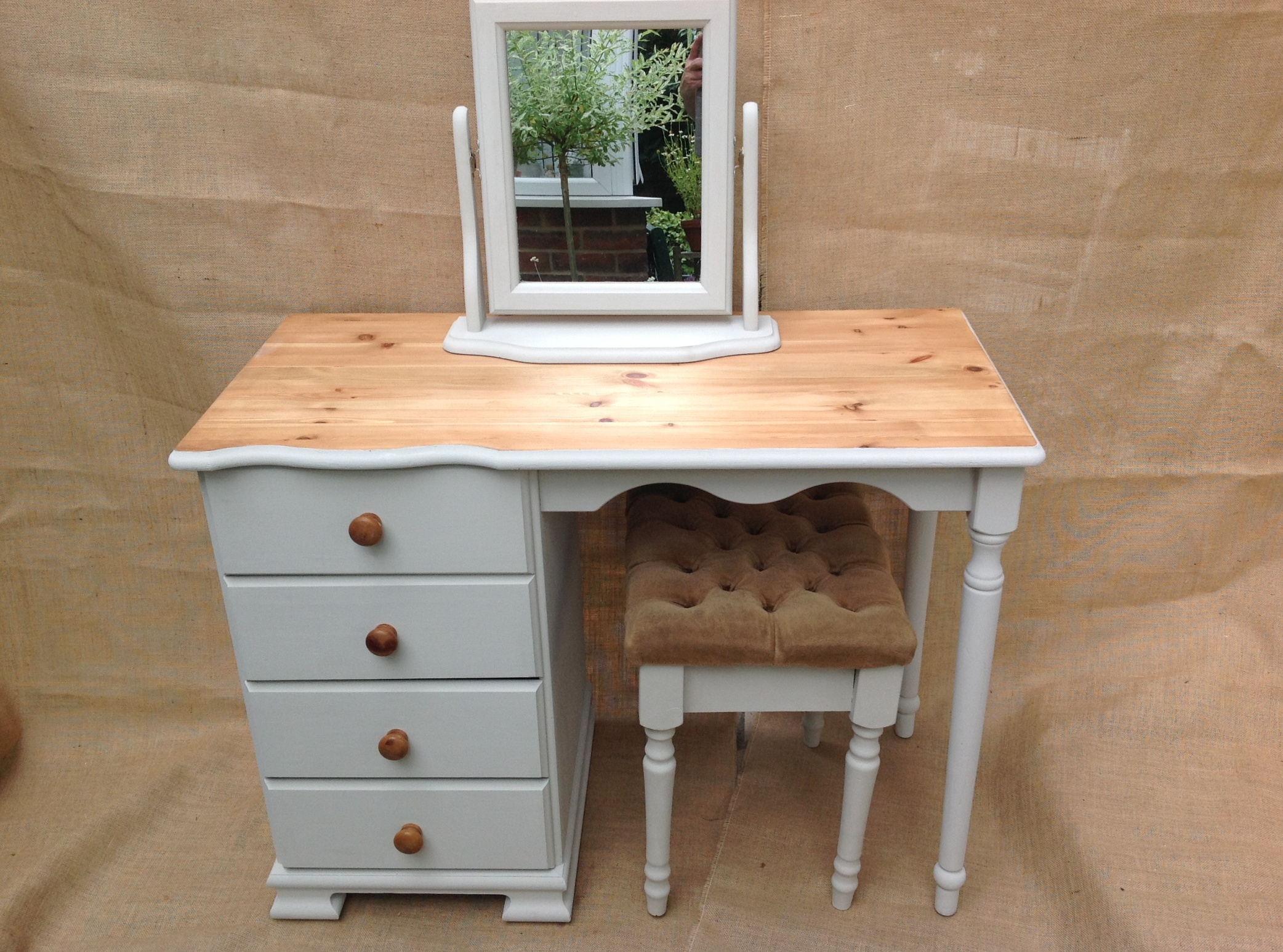 Pretty Pine Dressing Table Complete With Tilting Mirror On Wood Frame And  Little Stool With Beige Draylon