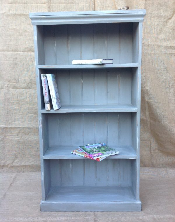 Bookcase painted with Autentico Chalk Paint in colour 'Flannel Grey' in 'Regency White'