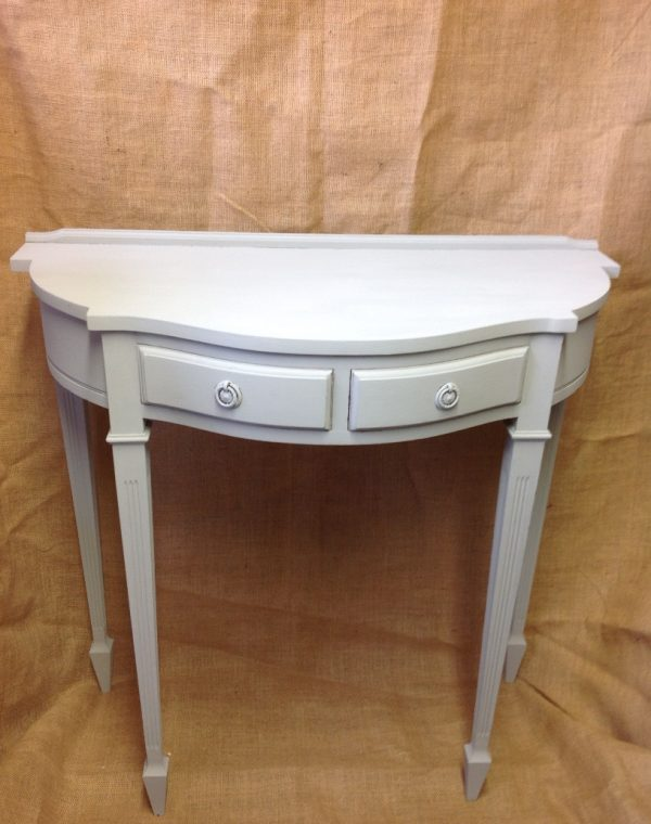 Half moon console table.. Painted in colour Soft Grey