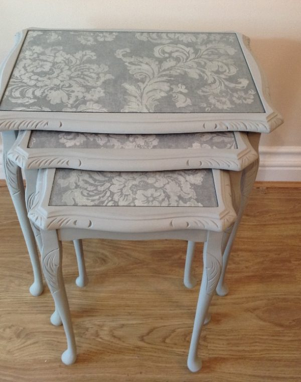 Mahoghany nest of tables painted with Autentico chalk paint in colour 'Soft Grey', completed with a clear wax.
