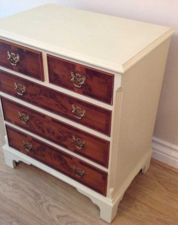 Painted in Colour Paris White with the drawers left to the natural wood