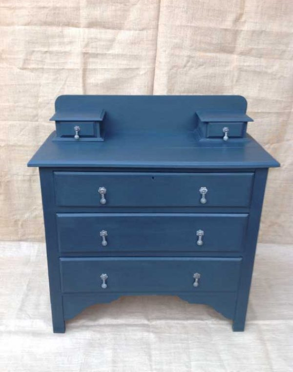 Three drawer chest with two small box drawers. Colour Nearly Black