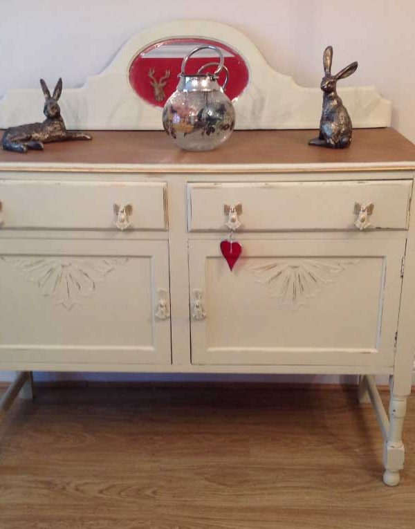 Oak Sideboard with mirror back. Colour Paris White.