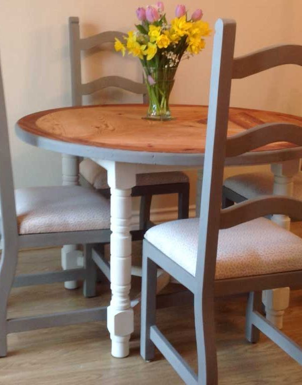 Solid Pine table & chairs. Colours French Linen & Batch White