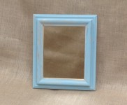 Chunky edged mirror, painted in summer sky, distressed allowing gold colour to shine through