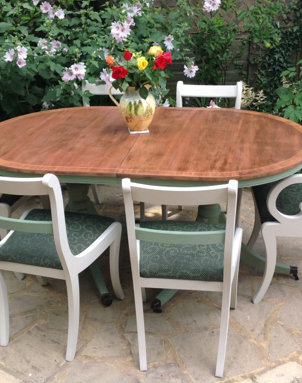Table and 6 chairs including 2 carvers, autentico chalk paint In colours vert olive and almond