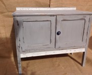 Vintage oak cupboard ideal for any room . Painted with autentico chalk paint in colours 'flannel grey ' and 'chalk grey 'highlighting the detailed trim across the back and across the bottom