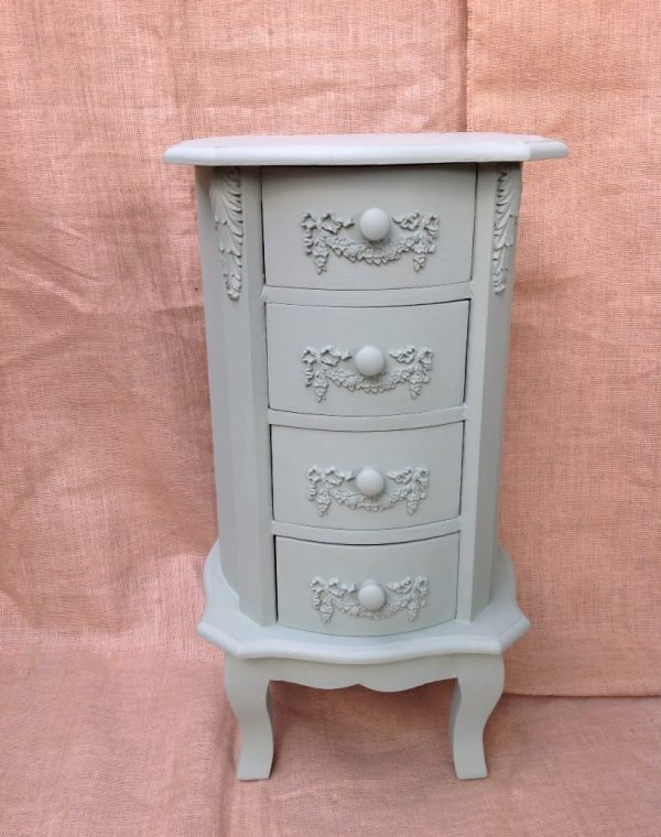 4 drawer side cabinet painted with Autetntico chalk paint in colour 'Vert Olive' with a clear wax applied.