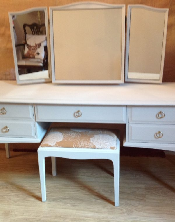 Dressing table with three way mirror and stool. Painted  in colour Regency White