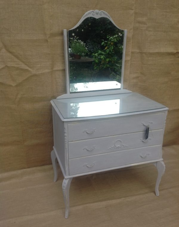 French style dressing table painted with Annie Sloan chalk paint, colour 'Paloma' with a clear wax applied.