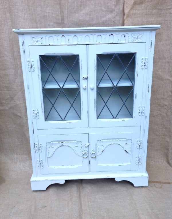 Old charm glass fronted cabinet , painted  with Autentico chalk paint in colour 'Almond'