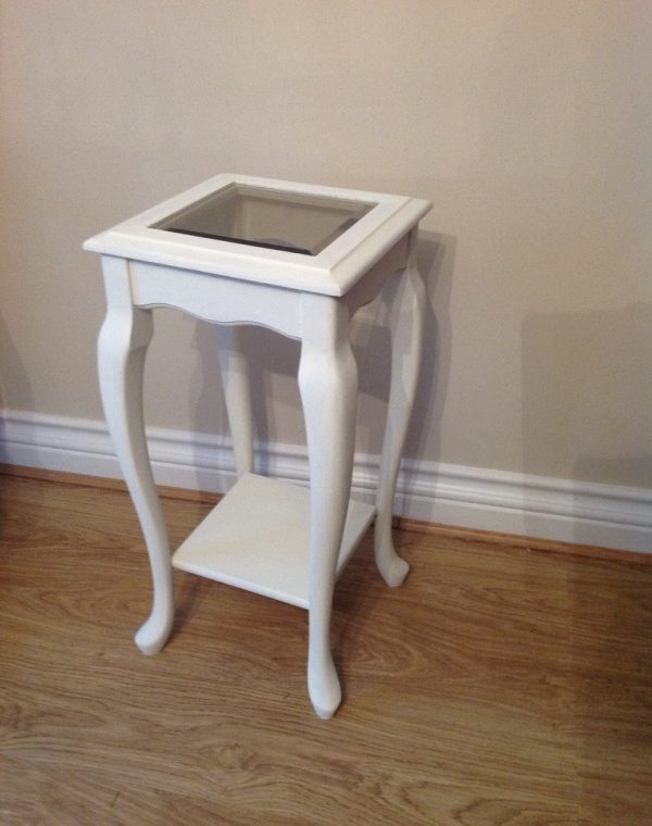 Side table with bevelled edge glass top, painted with Autentico chalk paint in colour 'Ivory', completed with a clear wax.