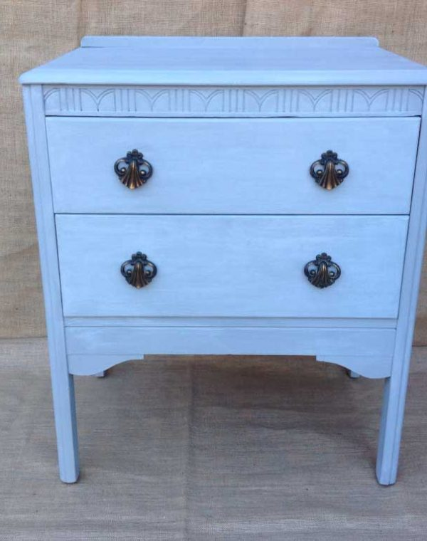 Two Drawer chest with original handles. Colour Soft Grey with white wax