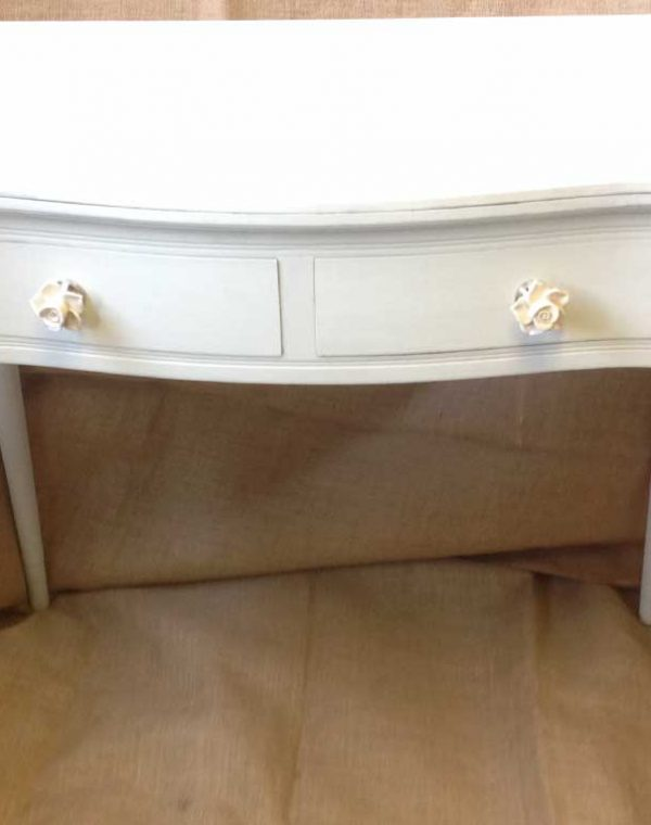 Console Table with two drawers together with pretty ceramic floral handles, colour Bath Stone.