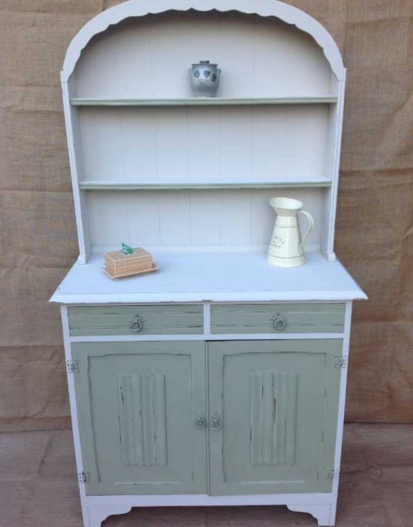 Dutch dresser painted in colours White and Vert Olive .. Slightly distressed