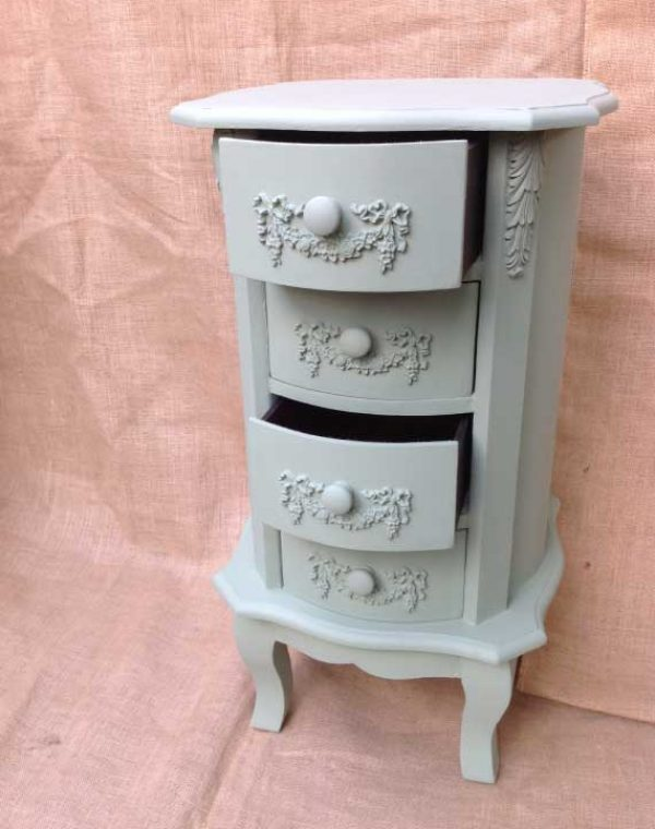 French Style side unit. Painted in colour Vert Olive