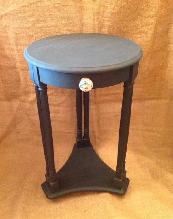 Small round side table with under tier, together with one drawer