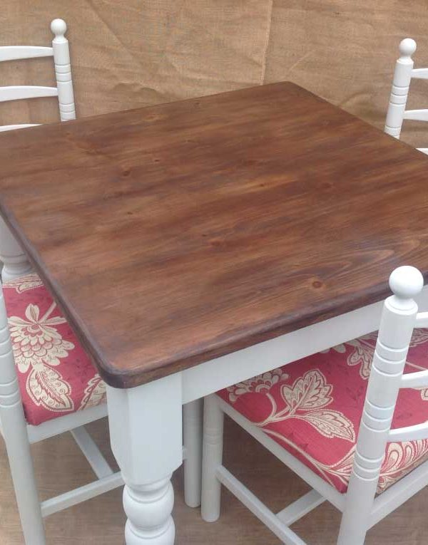 Solid Pine Table & four chairs. Colour Chalk Grey