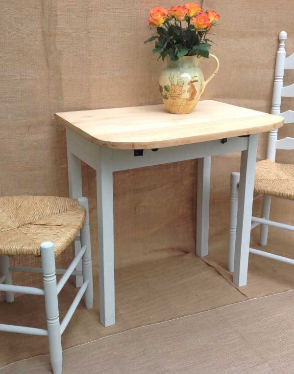 Drop Leaf table with two ladder back chairs. Colour Chalk Grey